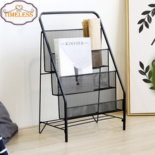 Factory Directly Free Standing Black Metal Wire Magazine Rack Book display shelf