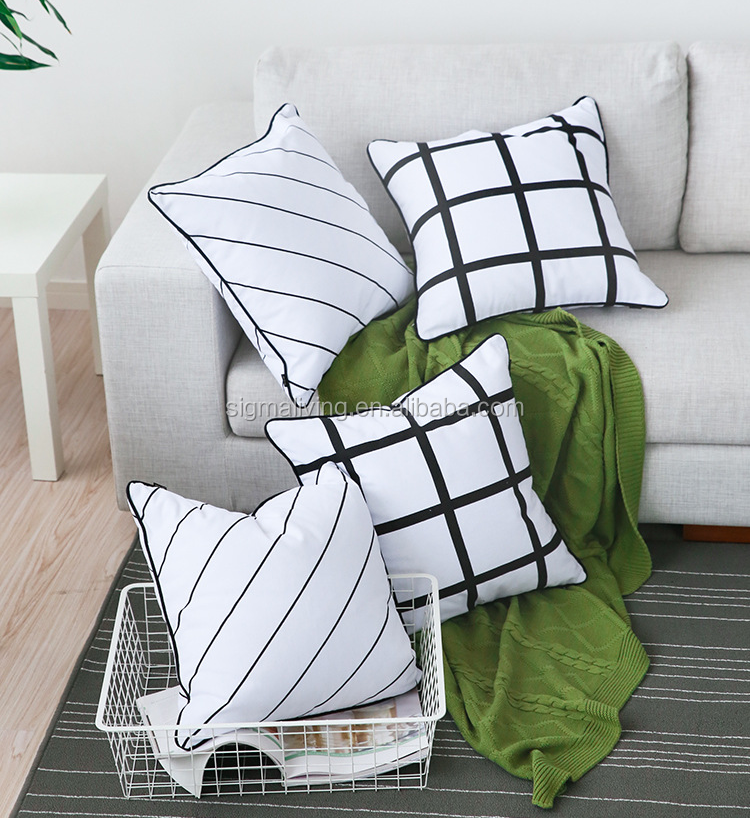 Nordic style black and white square shape cushion cover