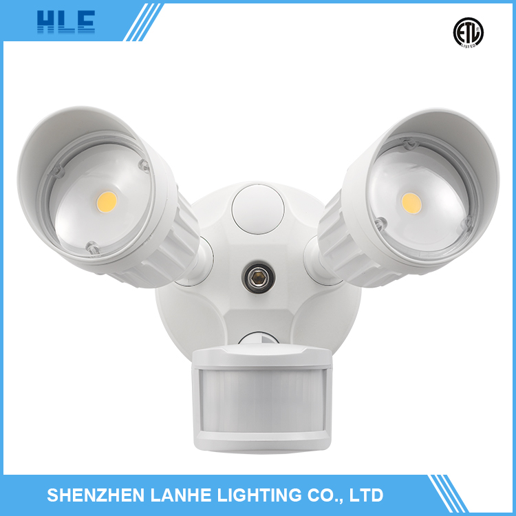 Wholesaler price two head 20w outdoor led security light with motion sensor