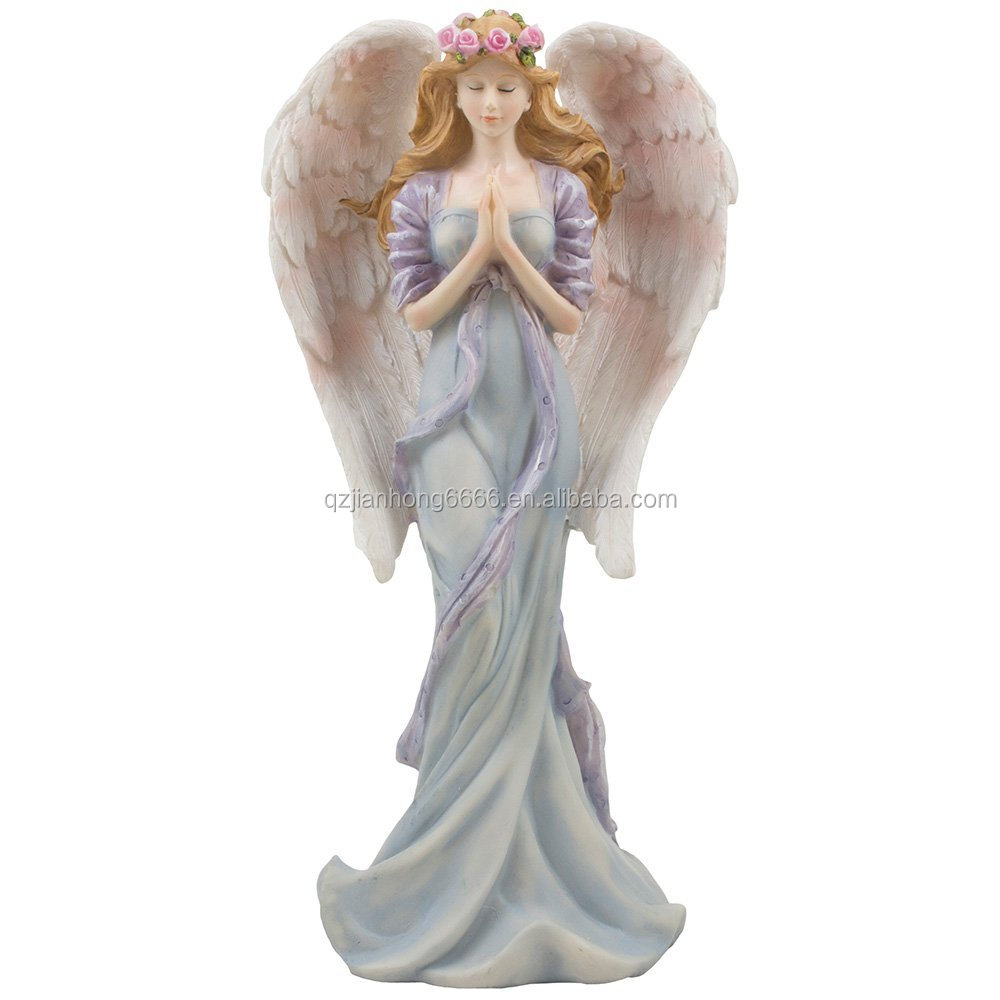 Standing Praying Angel Statue with Accents of Roses for Decorative Religious, Spiritual & Christian Decor Figurines