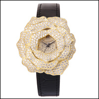 Fashion unique rose design 925 sterling silver gold lady watch