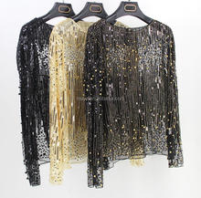 L2320A Ladies Designer Fashion Women Long Lace Sleeve Mesh Beaded Sequin Top Blouse