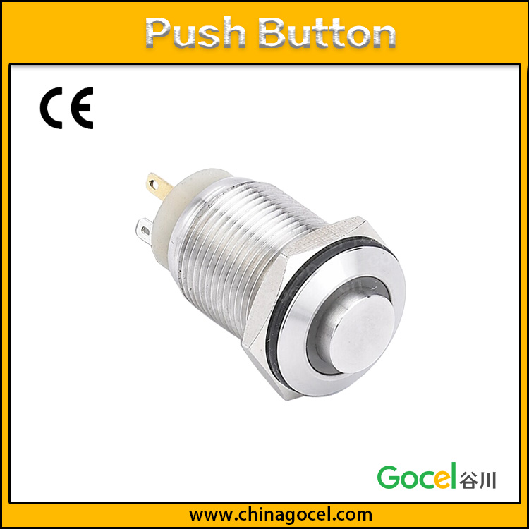 self locking high flat round head stainless steel button switch with light wiring GQ16H-10EZ/J/S