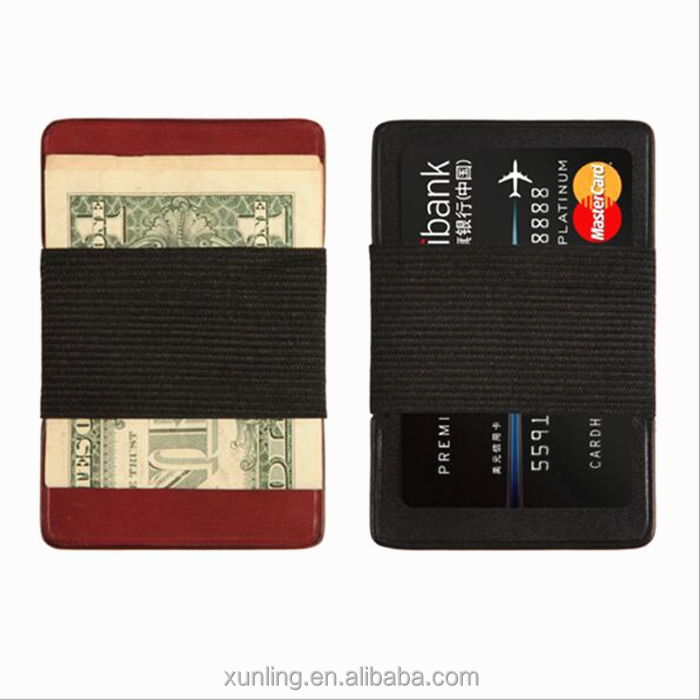 Thin RFID Blocking Money Clip Fashion Men's Genuine Leather Wallet Black Credit ID Card Holder With Elastic Band