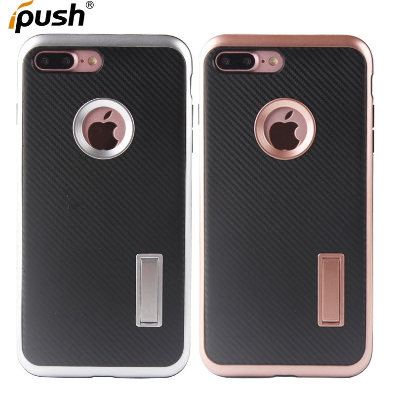 Motomo series 2 carbon fiber tpu PC phone case with kickstand for iPhone 7 plus