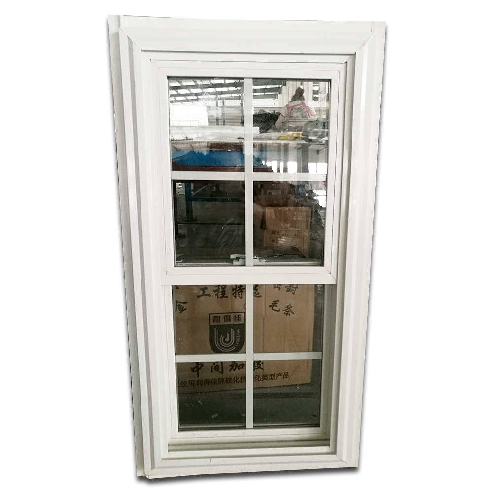 American style <strong>pvc</strong> double hung window vertical sliding UPVC window by china factory price high quality