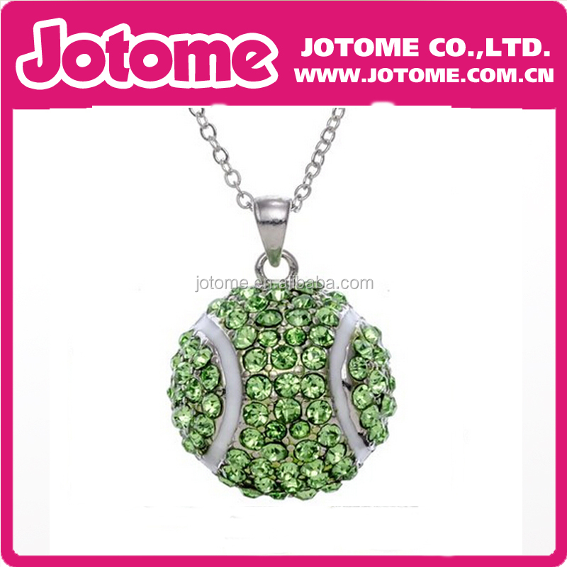 Small Tennis Ball Rhinestone Pendant Necklace Crystal and White Enamel