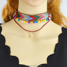 Ethnic Jewelry Colorful Cotton Choker With Cotton Beads Gold-Color Multi Layers Chain Leaves Shape Pendant Maxi Necklace