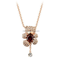 girl's necklace wholesale diamond necklace silver cute bear NMT1868388