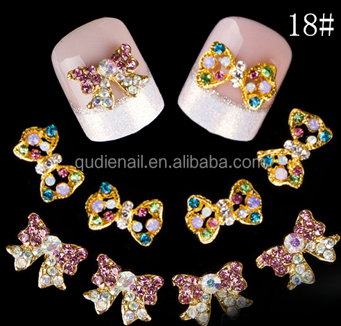 BIN 2016 best seller Hot Alloy 3D bow Nail Decal metal diamond Nail Charm