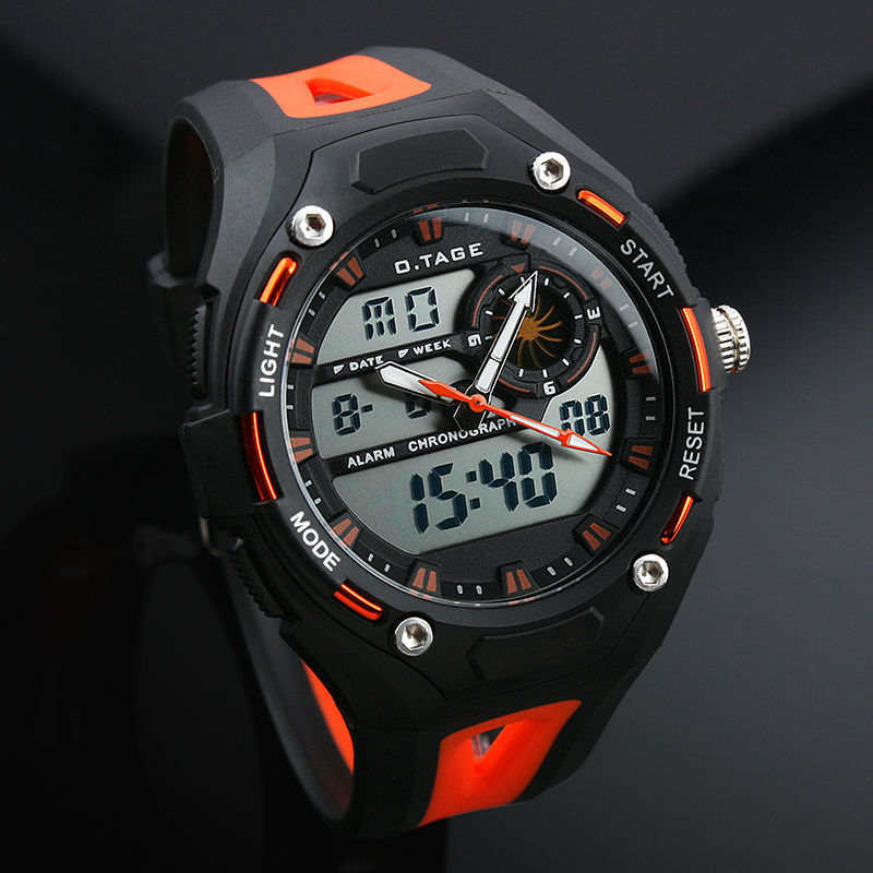 Men's Orange Rubber Digital Analog Dual Dial Sport Watch WS067