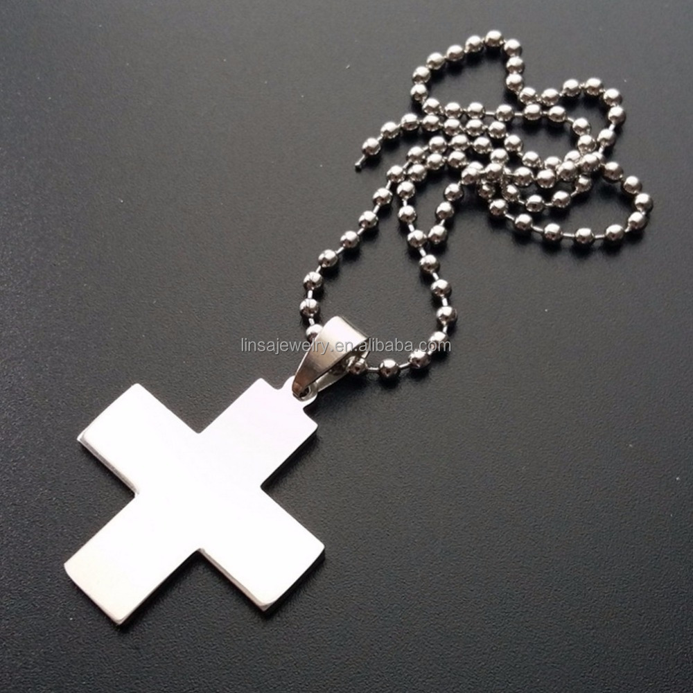 Fashion men women wholesale silver custom stainless steel inverted cross pendant SCP153