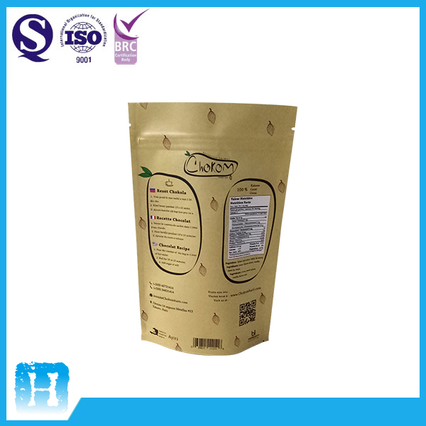 Brown Stand Up Kraft Paper Zip Lock Bag With Clear Window For Coffee Tea Packaging