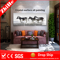 dropshipping easy oil painting pictures with horse canvas painting for wall decals