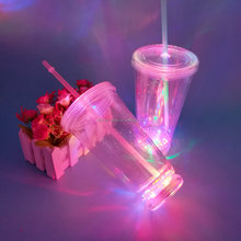 Plastic novelty light up double wall tumbler with straw