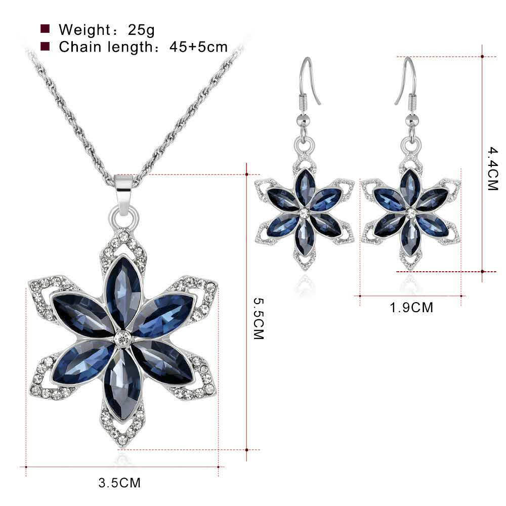 Fashion Elegant Bride Alloy Diamond Austrian Crystal Six Petal Snowflake wedding jewelry set women