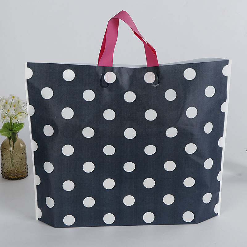 Custom Printed Polka Dots Plastic Garment Bag Shopping Packaging Bag for Clothing with Handle