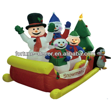 240cm/8ft Christmas inflatable snowman family on sleigh