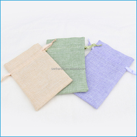 Printed logo soft jute jewelry pouches packaging bag wholesale