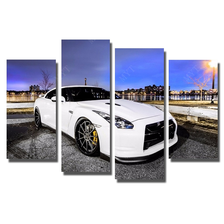 Print car oil painting on canvas wall art pictures for hotels