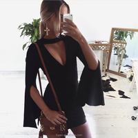 2017 Fashion Sping Autumn Celebrity Bell horn long sleeves Bodycon V neck sexy Club Dress Women Black Party Cocktail Dresses