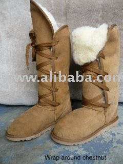 wrap around sheepskin boots