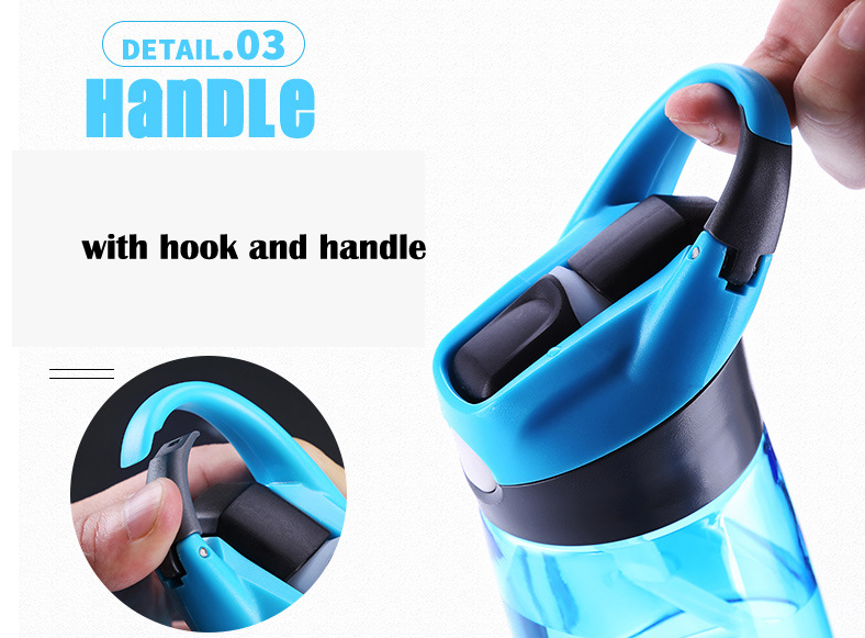 Sports Straw Plastic Water Cup Portable Handle Bike Bottles
