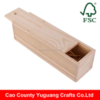 Pine Wood Unfinished Wooden Wine Bottle Box with sliding lid