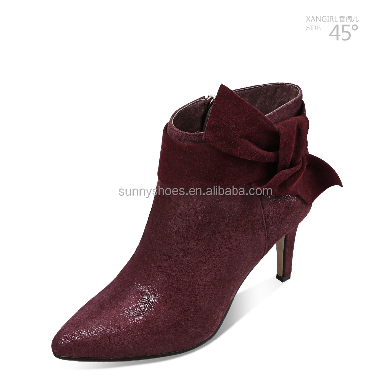 2017 new arrivals ankle boot stiletto heel kid suede sheepskin ankle boot women casual shoes online
