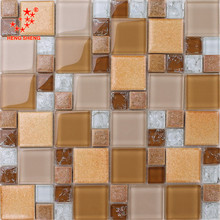 Latest design decoration wall tile floor tile glass mix ceramic mosaic travertine marble vein cut tile