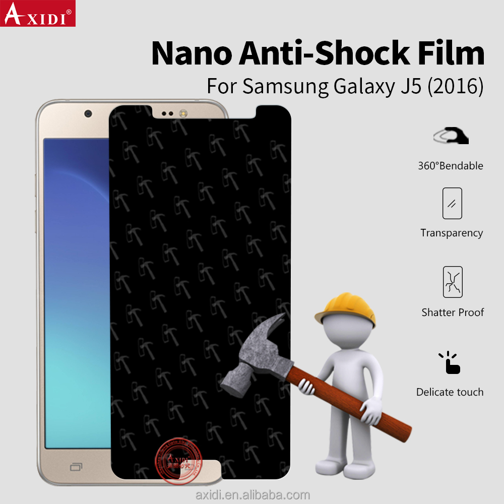 Suitable for All Curved Mobile Phones!!3D Full Cover Curved nano anti shock Screen Film for Samsung galaxy J5 2016