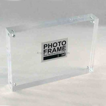 Contain business card 2x3 inches 86x54mm frame Clear Acrylic Block 2 wallet-size (family) photos on either side