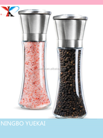 Premium Stainless Steel Salt and Pepper Grinder Set of 2- Brushed Stainless Steel Pepper Mill and Salt Mill, 6 Oz Glass body