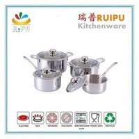Kitchen utensils Zebra cookware set stainless steel/sandwich bottom stainless steel cookware set disposable pots cooking pans