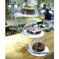 Unique acrylic cake stand with hinged dome covers