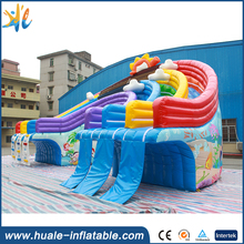 Giant rainbow adult size water park slide inflatable water slide for water park