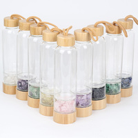 Natural Crystal Energy Gem Stone Elixir Water Bottle bamboo bottle With Wand Healthy Drinking Water