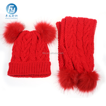 girls wear in winter chinese red knitted scarf and hat set
