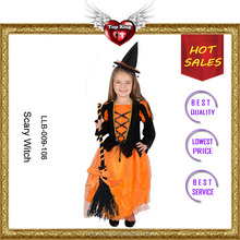 OEM Service Cheap Carnival Orange Noble Girl Skirt Scary Witch Costume for Party