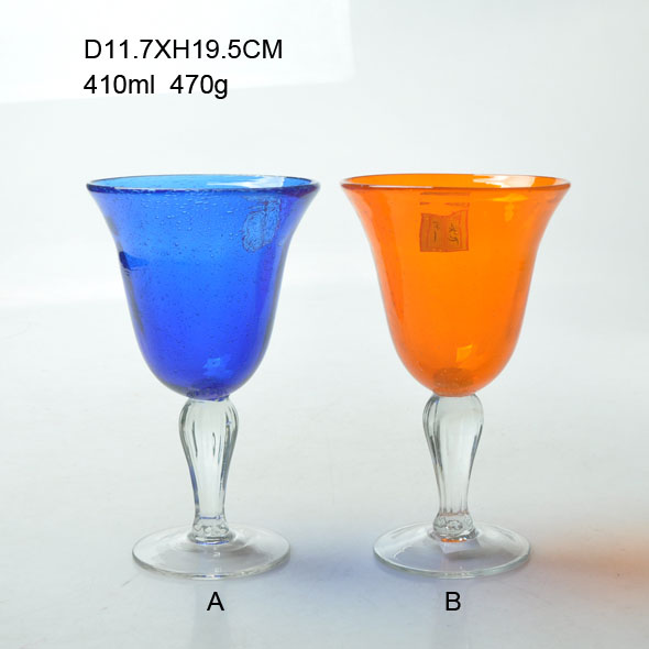 13oz Antique Handmade Glass Goblet in Various Colors