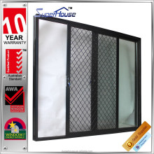 Tempered safety glass aluminium sliding mesh door with australia hardware