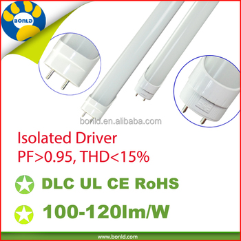 UL,DLC one end in power by pass type B 2ft 4ft 8ft high brightness tube factory led t8 tube light