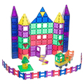 Clear Color Mags Magnetic Tiles Set Stacking 3D Building Blocks Toy With Magnets For Kids 130 Pcs Set