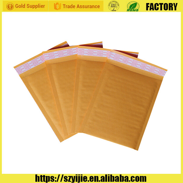 2016 Brand new gold color kraft bubble mailing envelopes/air bubble padded kraft paper envelopes