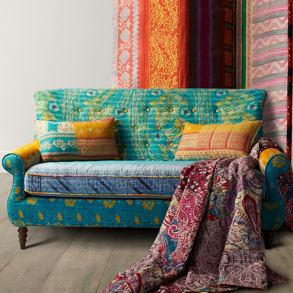 Living room furniture two seater sofa exotic fabric settee, kantha blanket upholstery two seat sofa