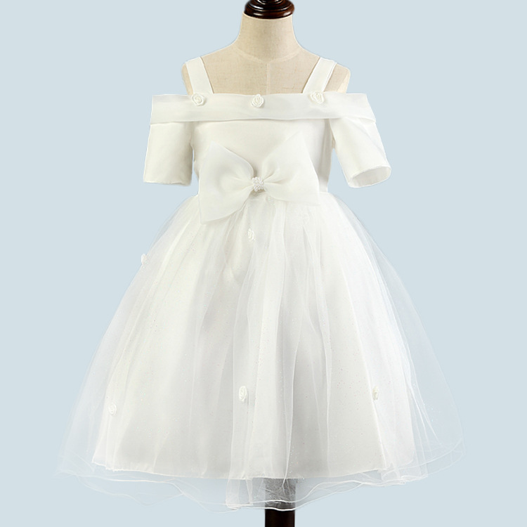 Onen korean style children's wear strapless bowknot of bitter fleabane high-grade flower girl dress princess dress