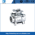 ANSI standard stainless steel 304 high mounting pad 3 piece NPT BSPT female thread ball valve