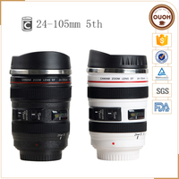 New Products 24-105 Black And White Camera Lens Stainless Steel Mug With Lid For Christmas Gift