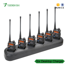 Top radio UV-5R Six Way Bank Desktop Charger For Baofeng UV-5R UV-5RE UV-5RA Six Slot Multi Charger and AC Cable