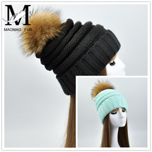 Pompom Bonnet Beanies Knitted Winter Caps for Women Outdoor Ski Sports CC Beanie Hat
